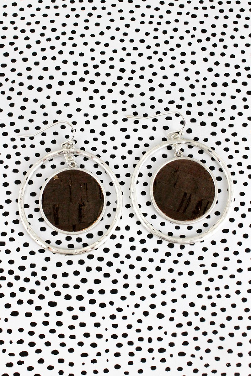 Crave Silvertone and Dark Cork Double Disk Earrings