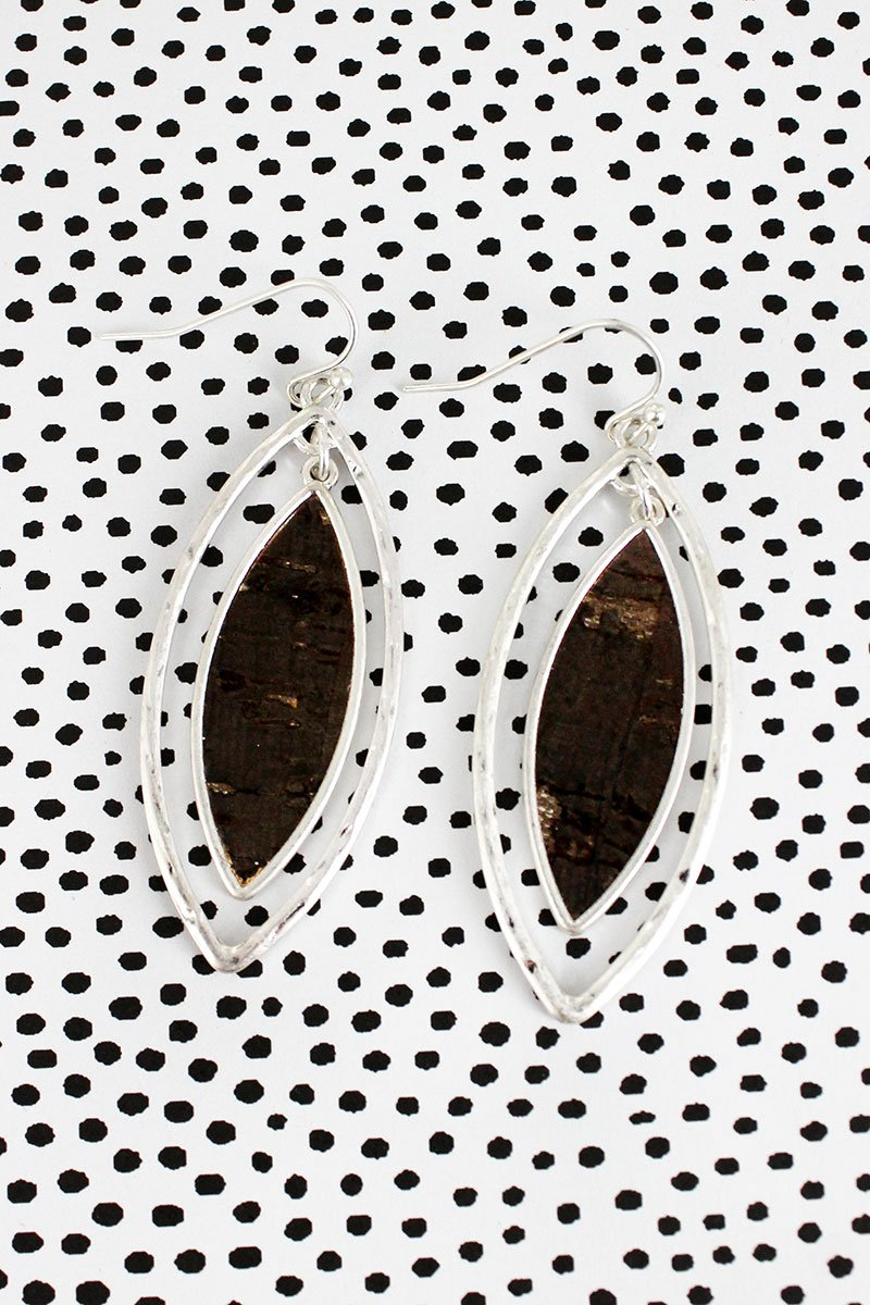 Crave Silvertone and Dark Cork Double Marquise Earrings