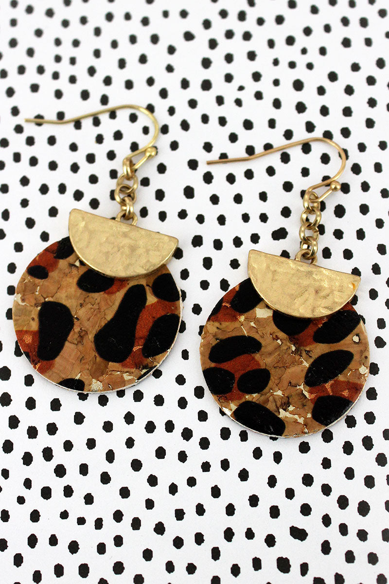 Crave Goldtone Half Moon and Leopard Cork Disk Layered Earrings