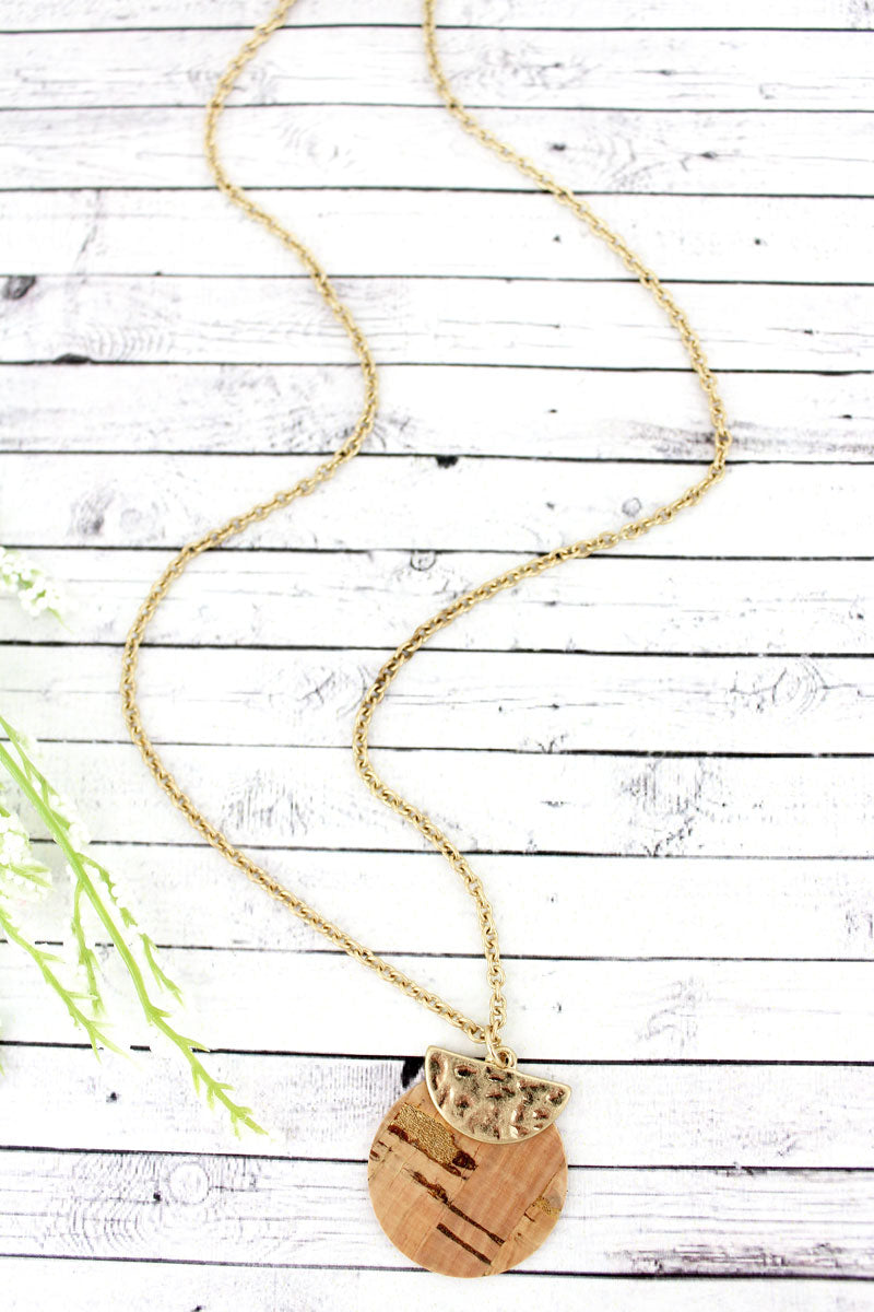 SALE! Crave Goldtone Half Moon and Cork Layered Disk Necklace