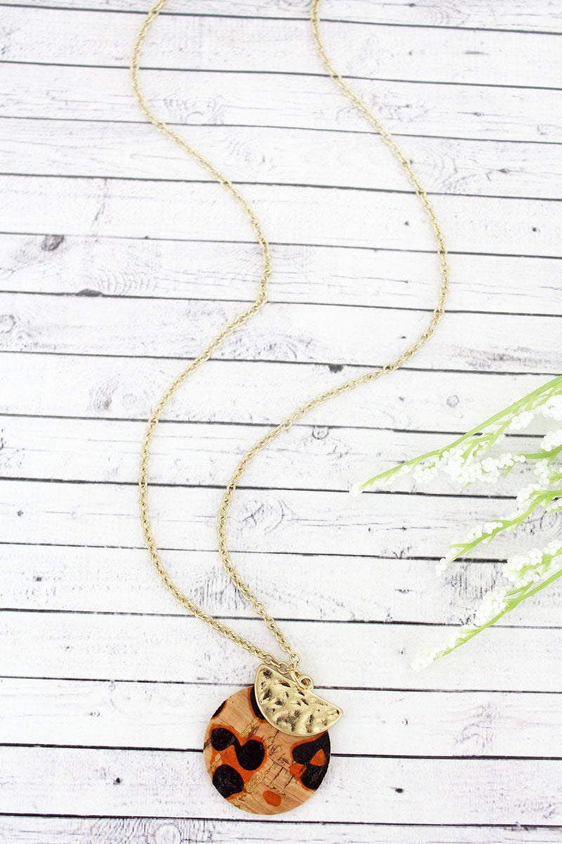 SALE! Crave Goldtone Half Moon and Leopard Cork Layered Disk Necklace