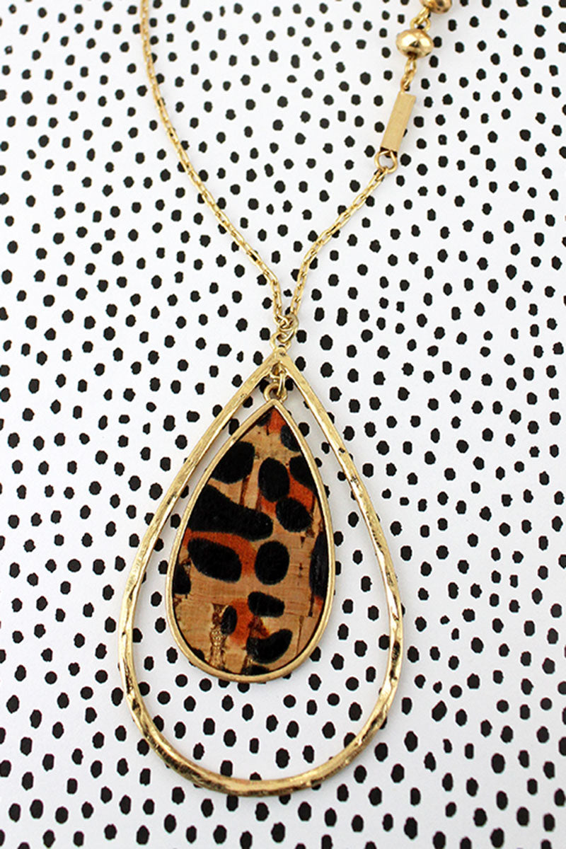 Crave Goldtone and Leopard Cork Double Teardrop Necklace