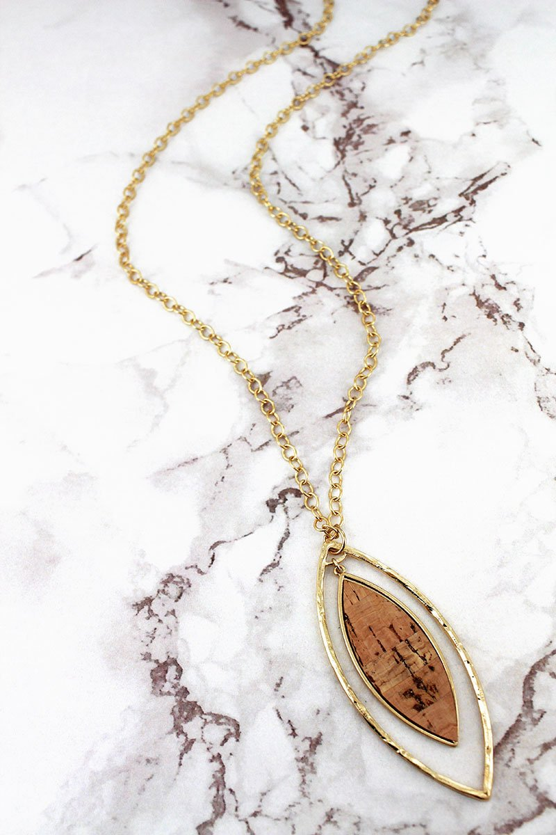 Crave Goldtone and Cork Double Marquise Necklace