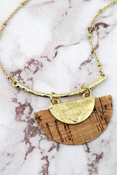 Crave Goldtone and Cork Half Moon Bar Necklace
