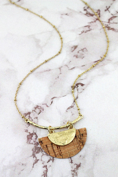 SALE! Crave Goldtone and Cork Half Moon Bar Necklace