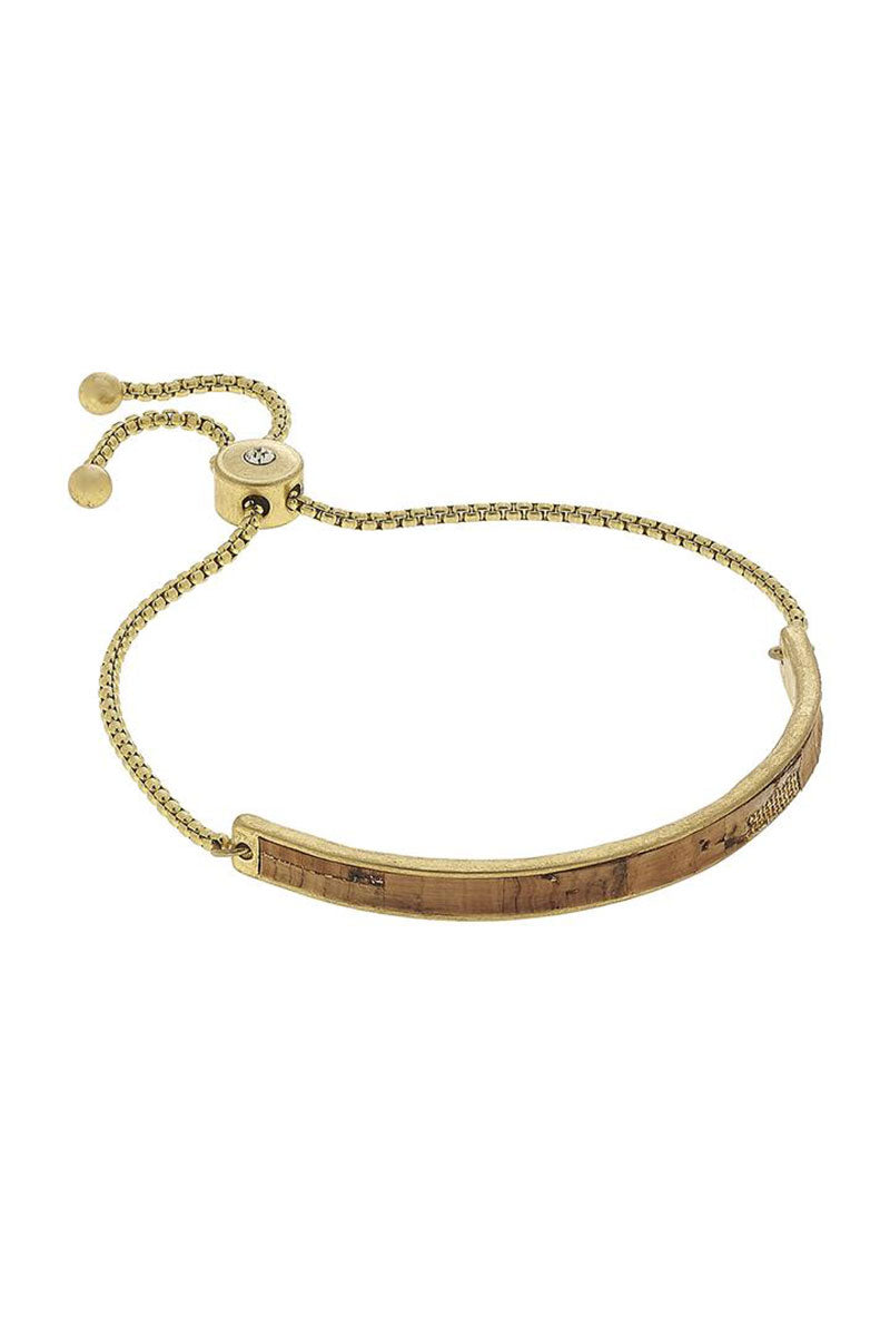 Crave Cork and Goldtone Curved Bar Bolo Bracelet