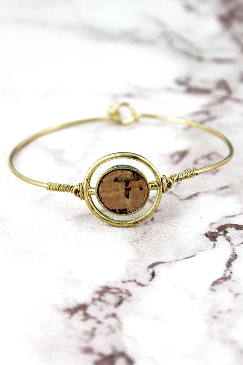 Crave Goldtone and Cork Double Disk Bracelet
