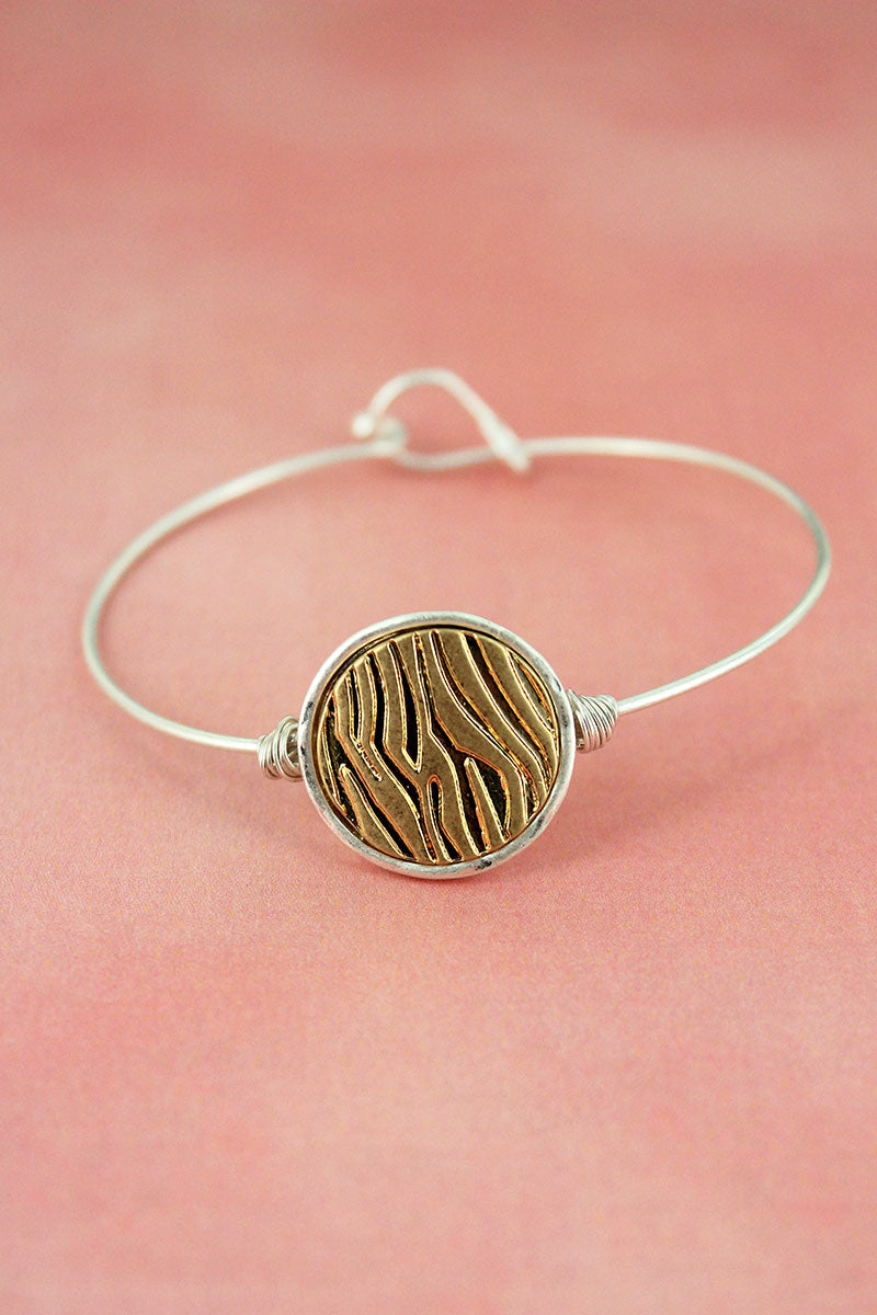Crave Worn Two-Tone Animal Print Disk Bangle