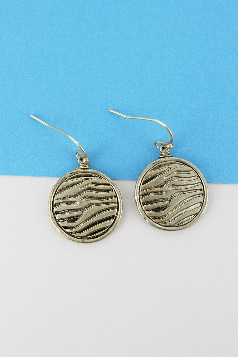 SALE! Crave Worn Goldtone Animal Print Disk Earrings