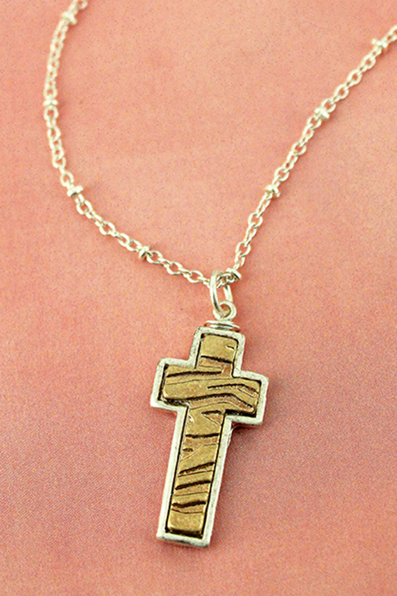 Crave Worn Two-Tone Animal Print Cross Necklace
