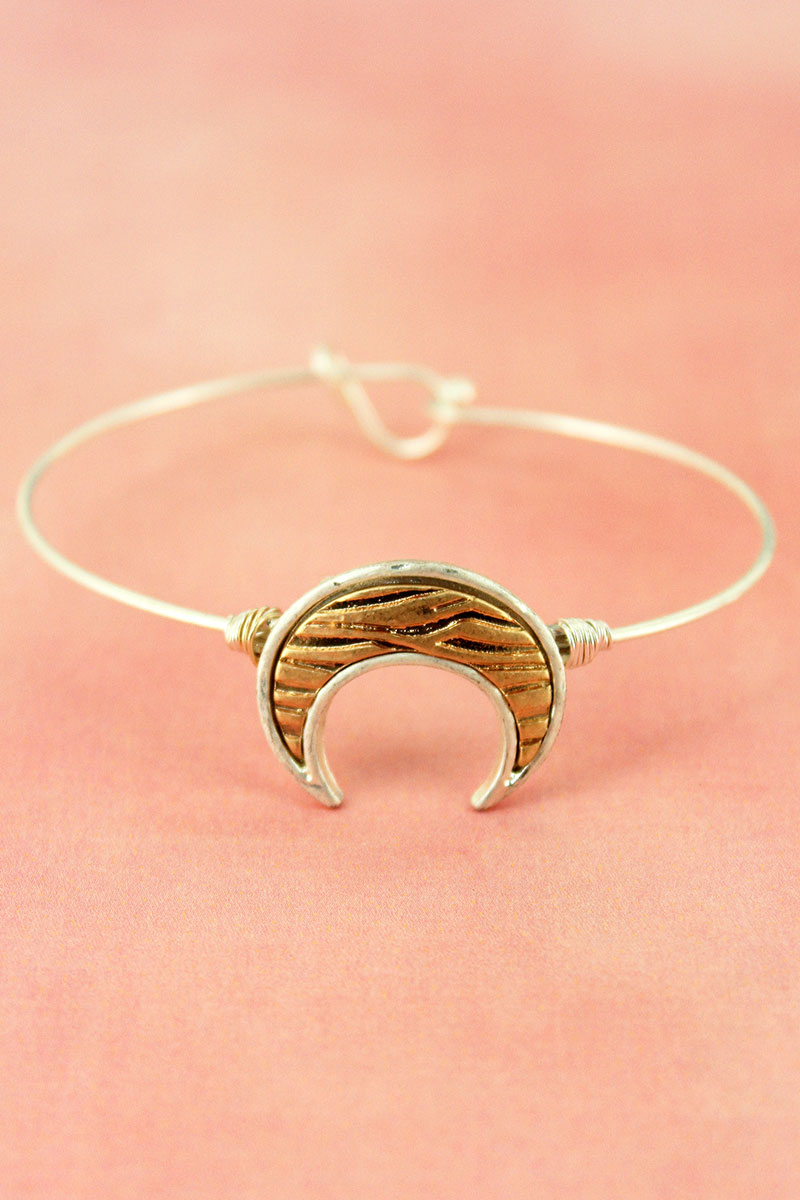 Crave Worn Two-Tone Animal Print Double Horn Bangle