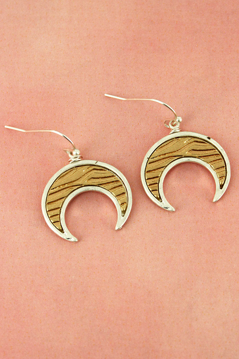 Crave Worn Two-Tone Animal Print Double Horn Earrings