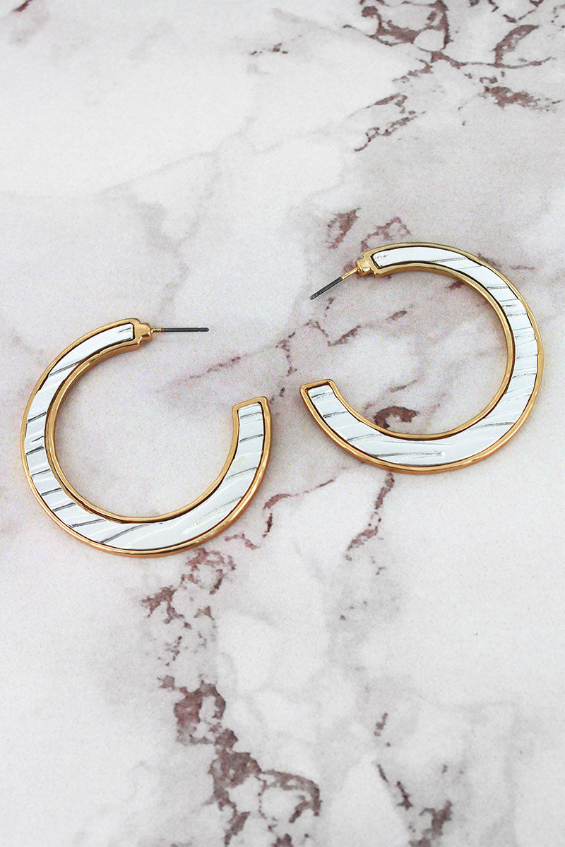 Crave Worn Silvertone and Goldtone Animal Print C-Hoop Earrings