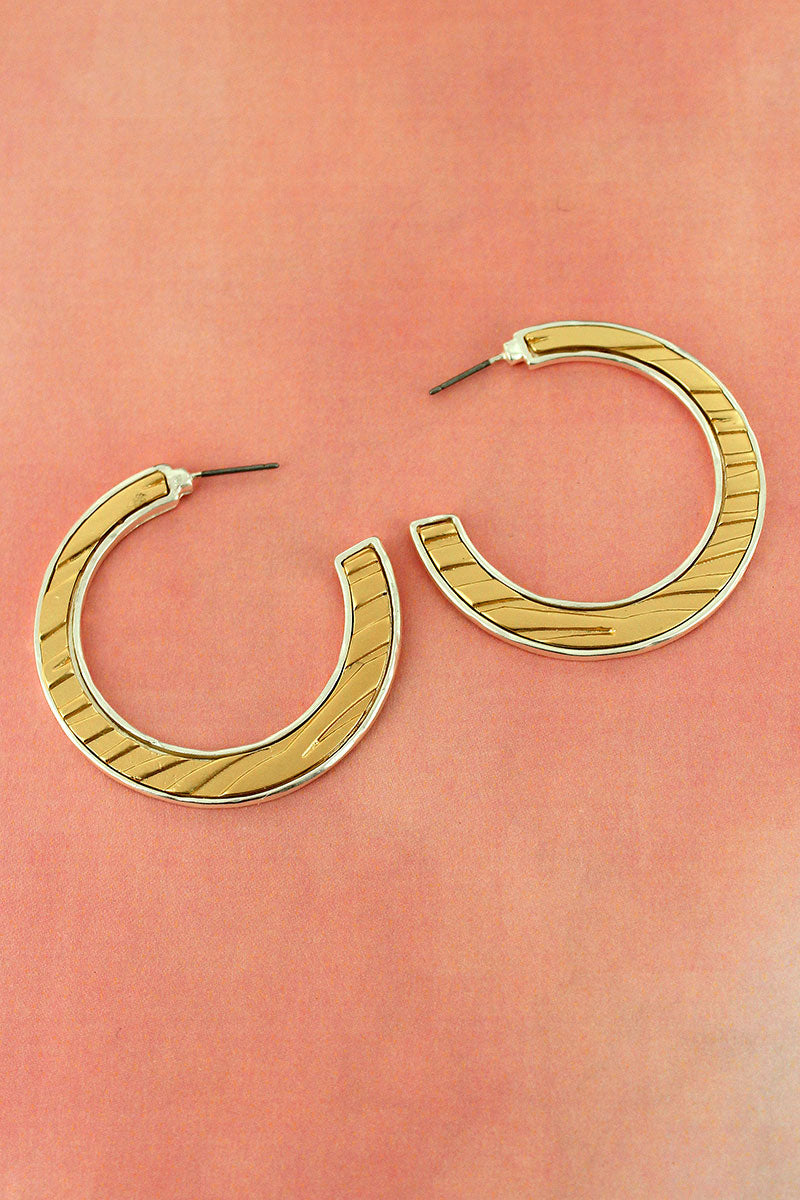 Crave Worn Goldtone and Silvertone Animal Print C-Hoop Earrings