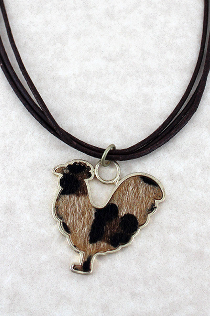 Crave Leopard Print Hen Pendant Multi-Cord Necklace