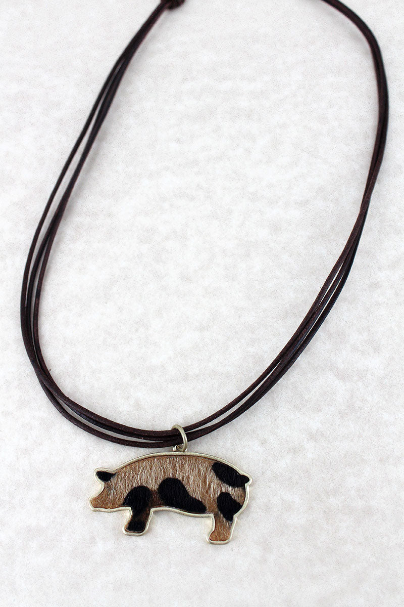 Crave Leopard Print Pig Pendant Multi-Cord Necklace