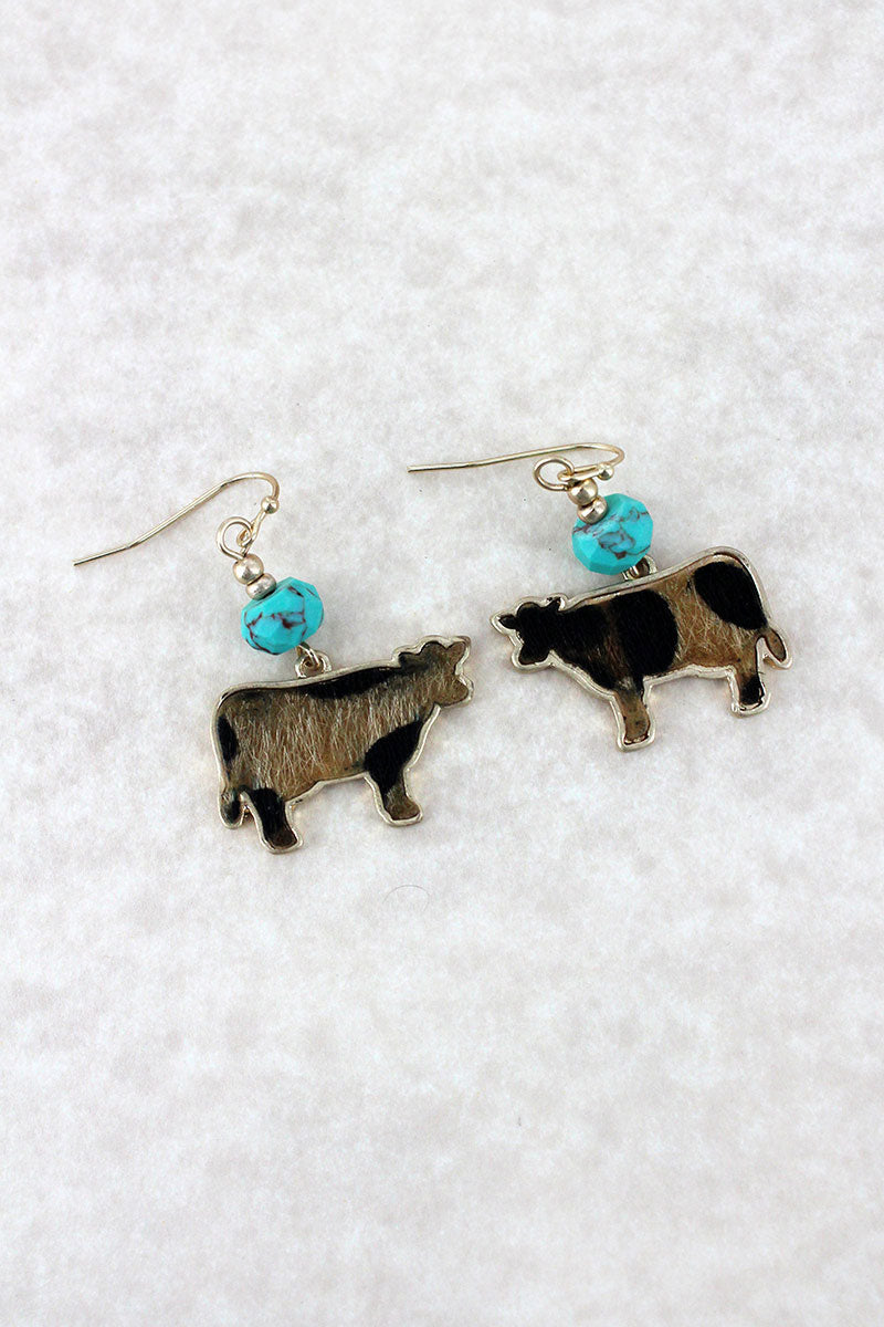 Crave Turquoise Bead and Leopard Print Cow Goldtone Earrings