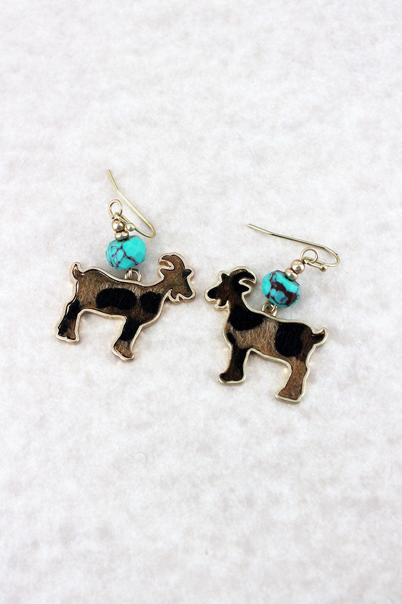 Crave Turquoise Bead and Leopard Print Goat Goldtone Earrings