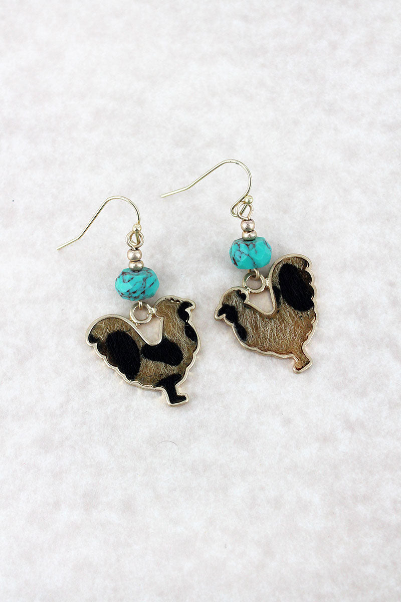 Crave Turquoise Bead and Leopard Print Hen Goldtone Earrings