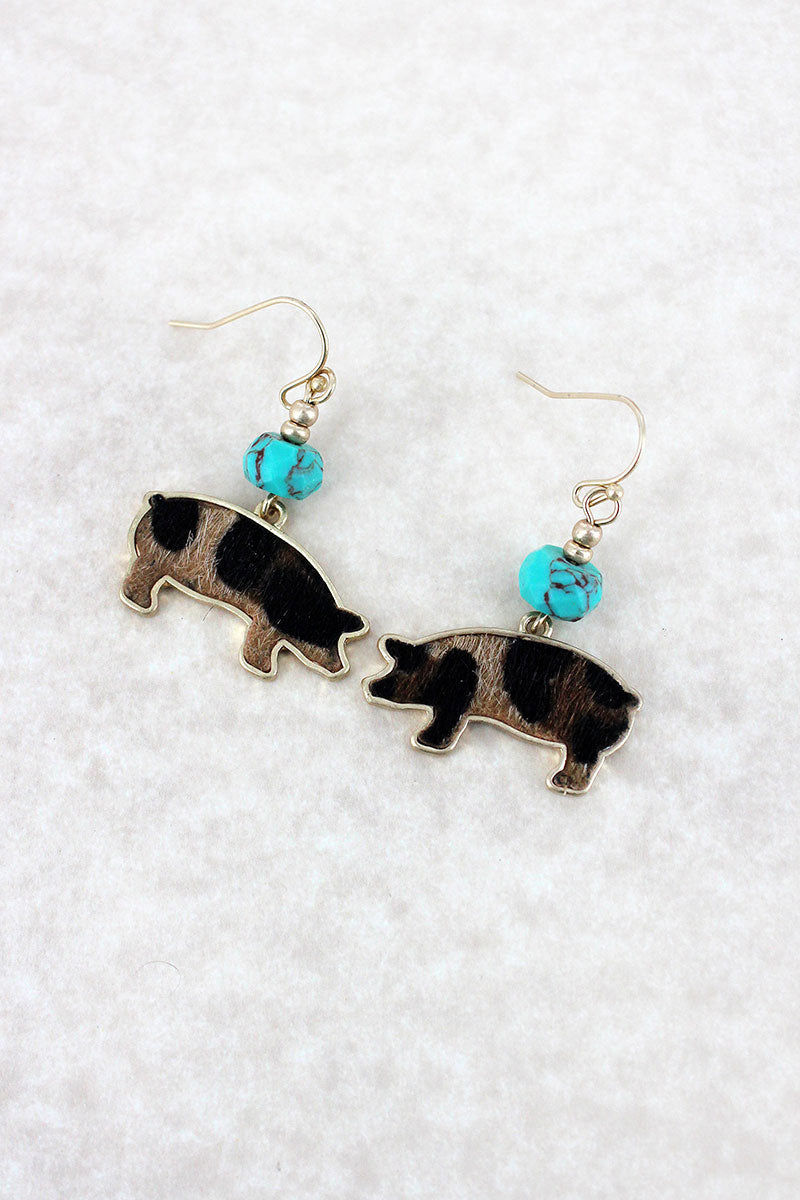 Crave Turquoise Bead and Leopard Print Pig Goldtone Earrings