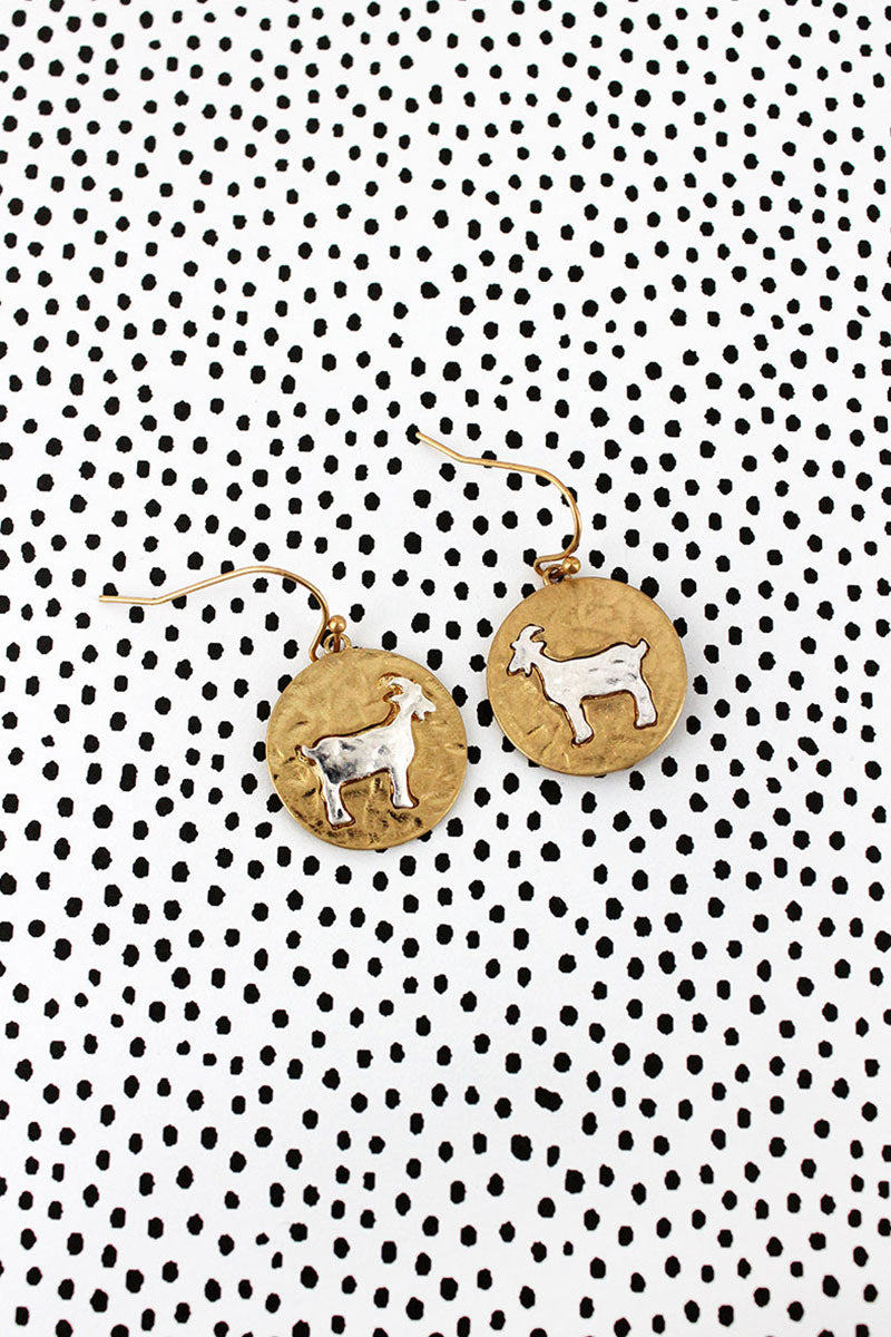 Crave Two-Tone Goat Disk Earrings