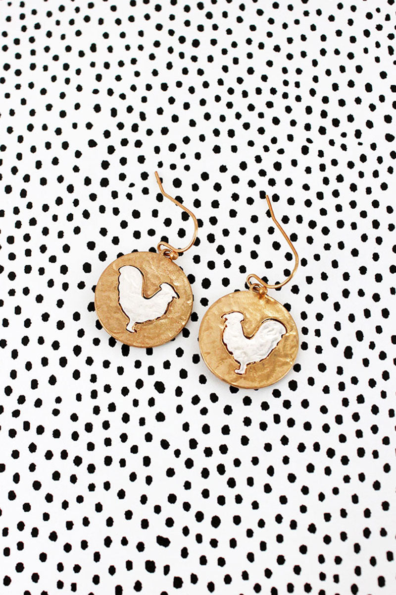 Crave Two-Tone Hen Disk Earrings