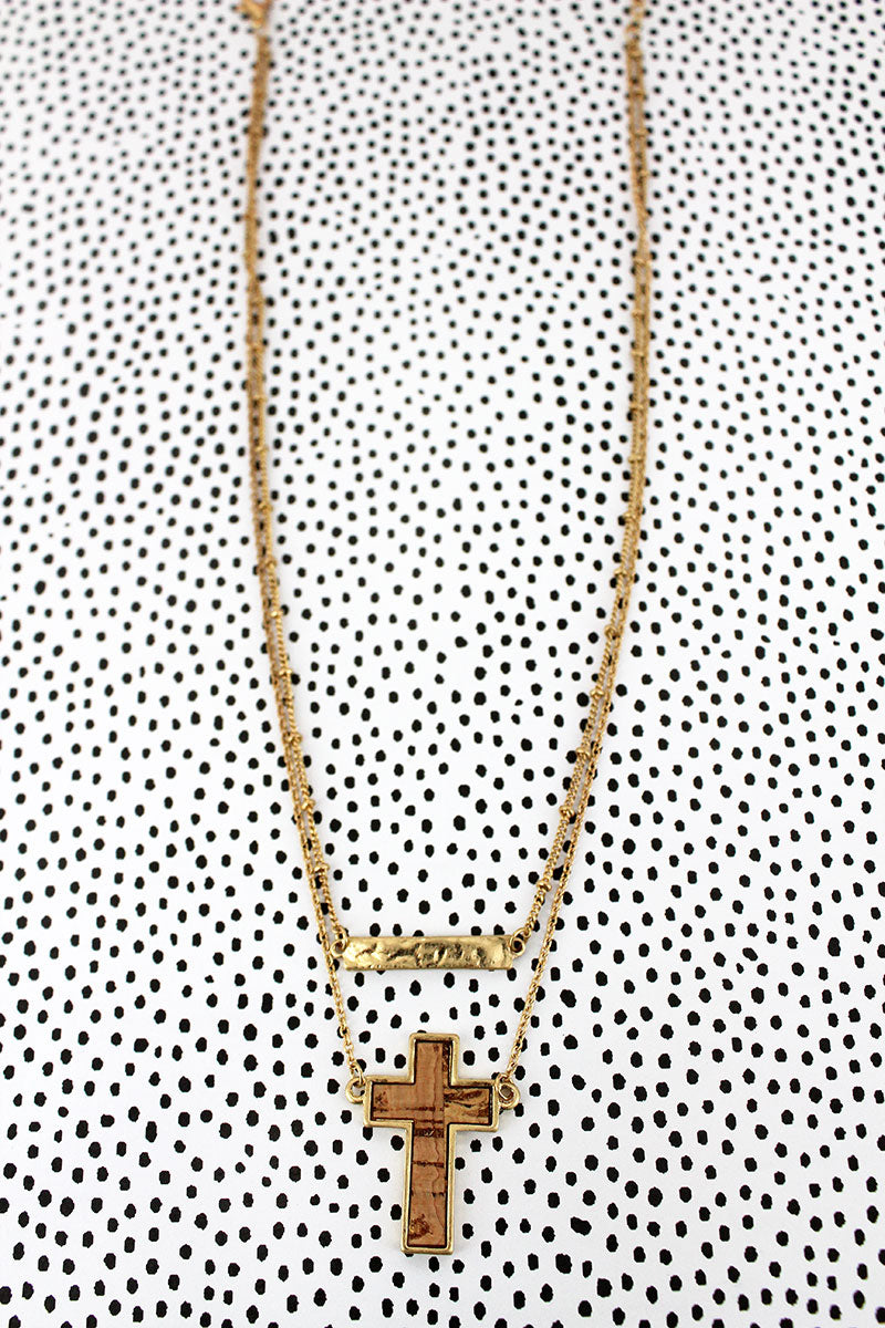 Crave Layered Goldtone and Cork Cross and Bar Necklace