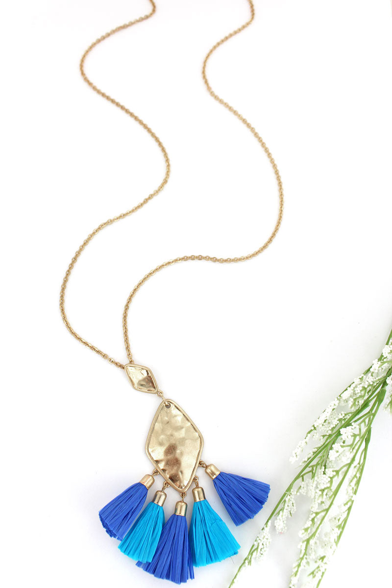 Crave Goldtone Diamond Turquoise & Blue Raffia Tassel Necklace