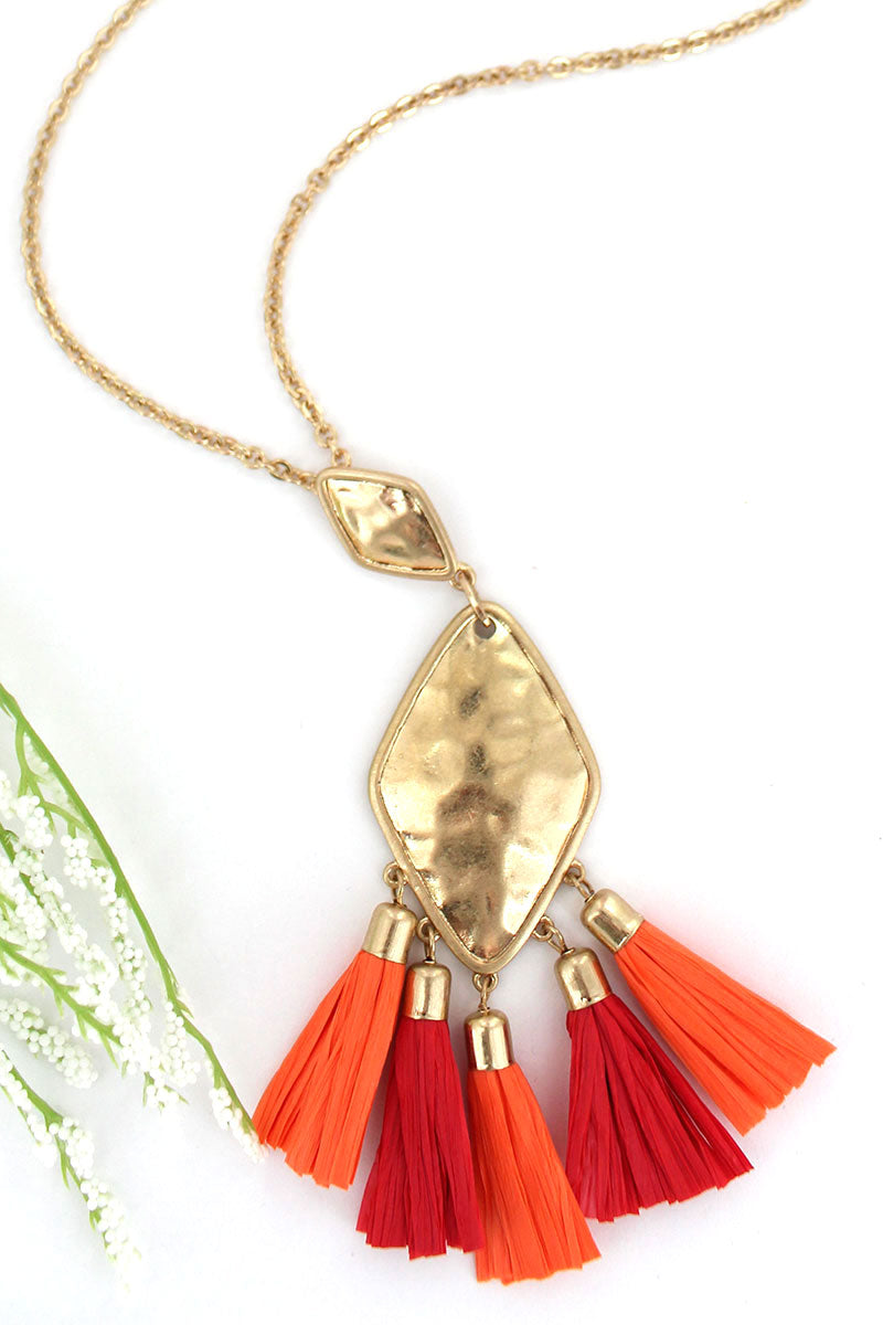 Crave Goldtone Diamond Red & Orange Raffia Tassel Necklace