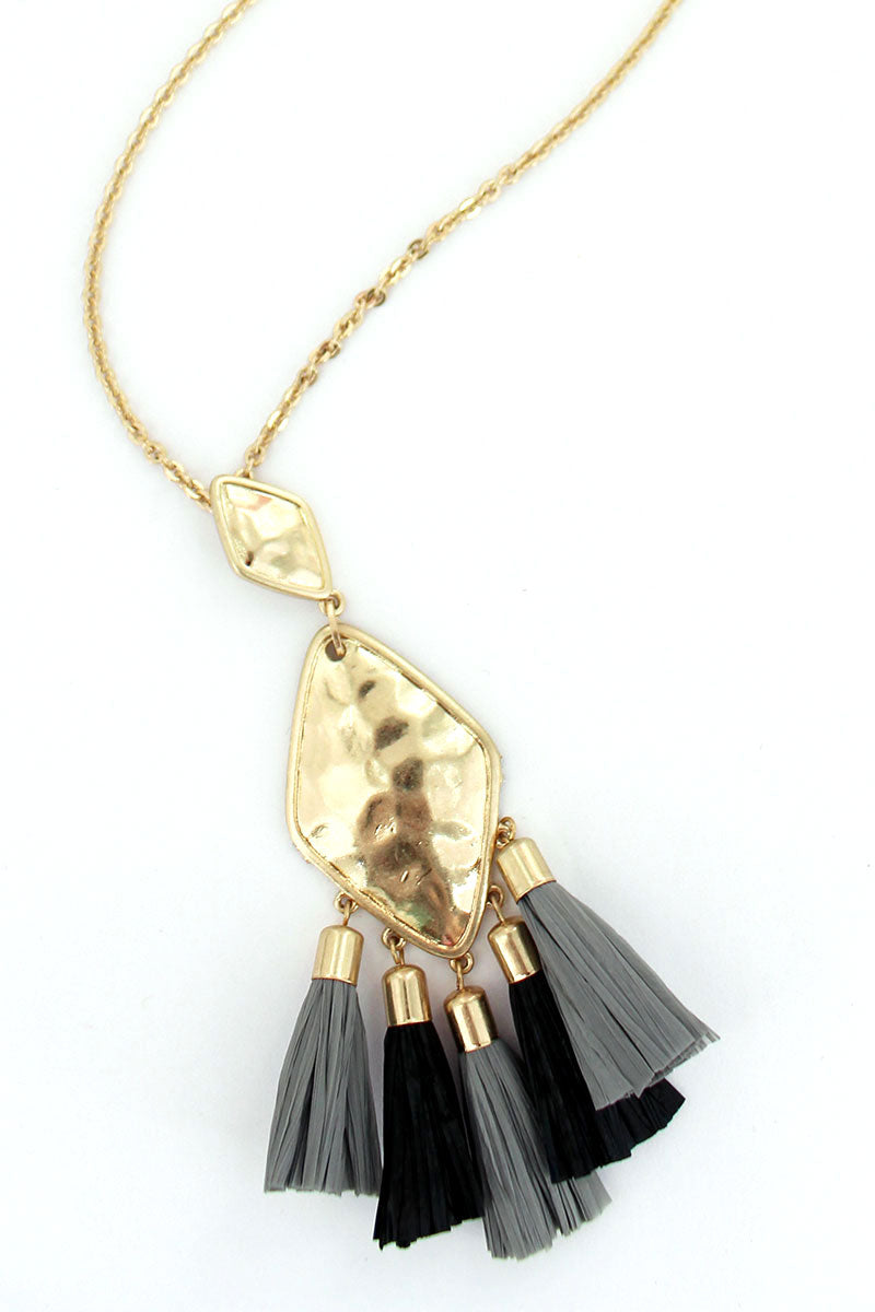Crave Goldtone Diamond Black & Gray Raffia Tassel Necklace