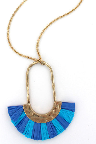 Crave Turquoise and Blue Raffia Fringed Oval Necklace