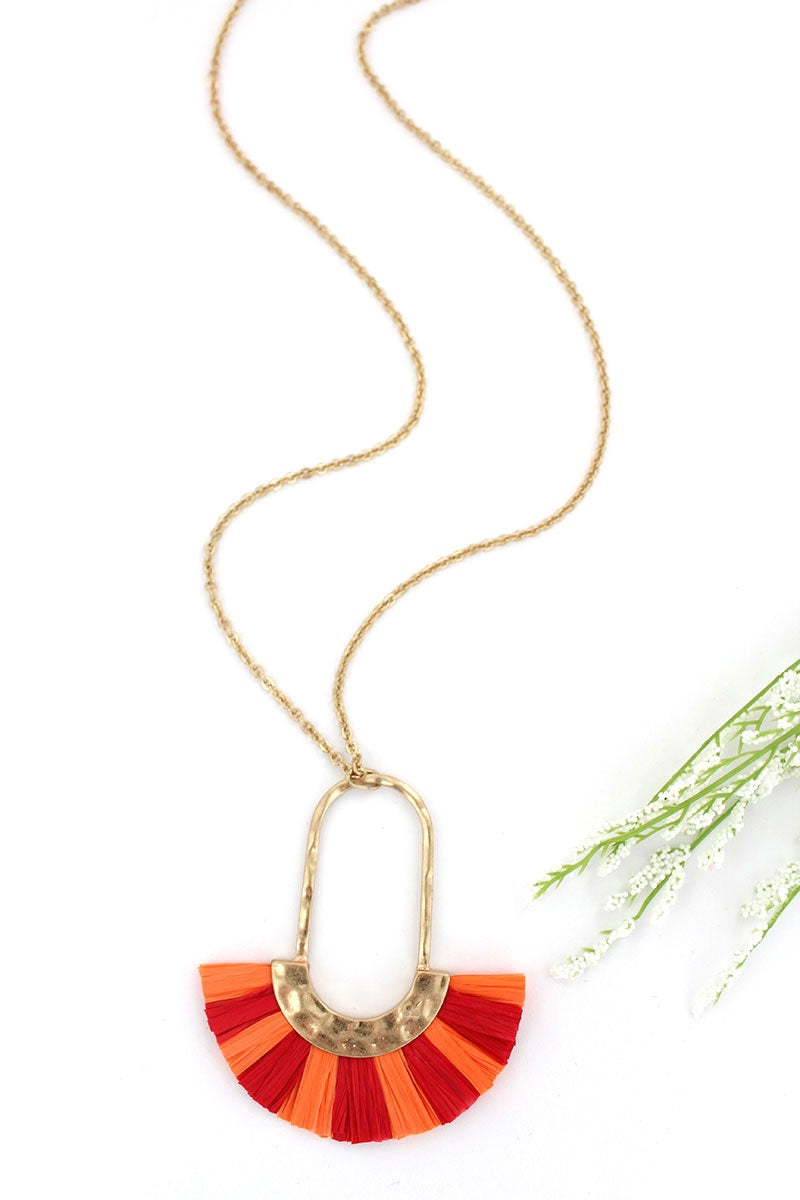 Crave Red and Orange Raffia Fringed Oval Necklace