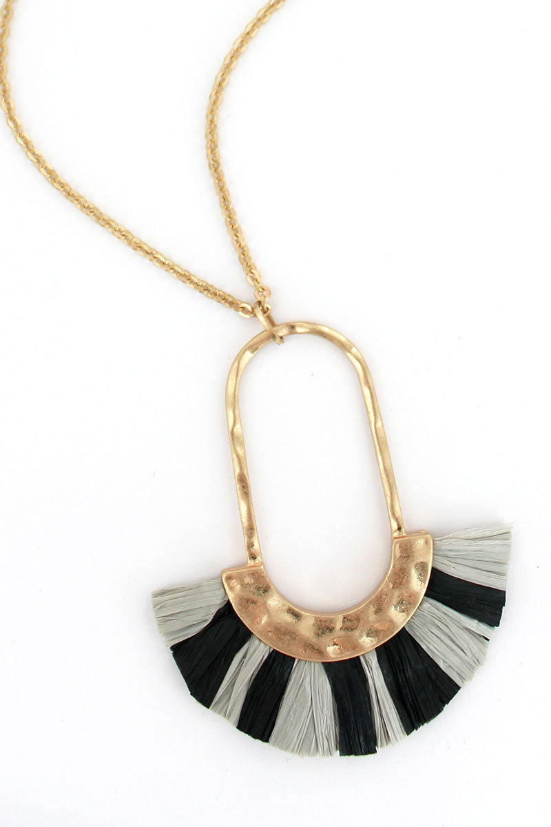 Crave Black and Gray Raffia Fringed Oval Necklace