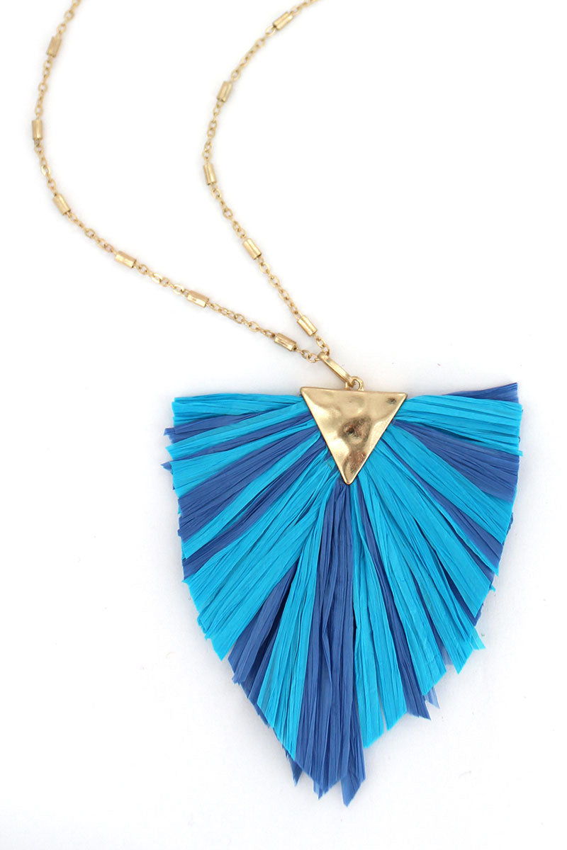 Crave Turquoise and Blue Raffia Triangle Necklace