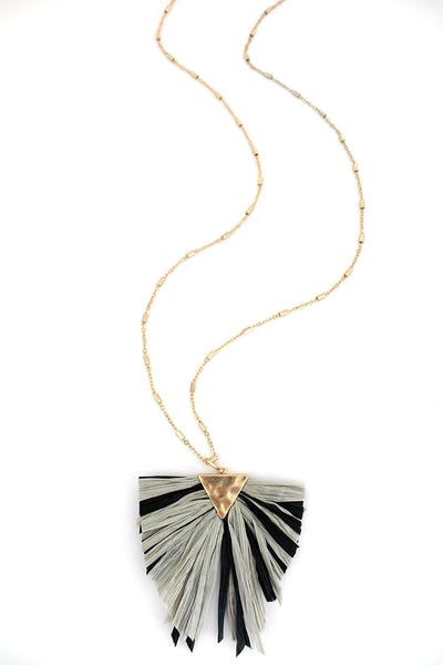 SALE! Crave Black and Gray Raffia Triangle Necklace