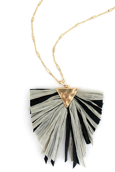 Crave Black and Gray Raffia Triangle Necklace