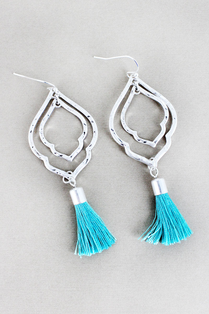 Crave Silvertone Double Moroccan with Aqua Tassel Earrings