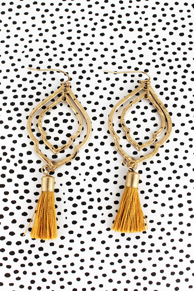 Crave Goldtone Double Moroccan with Mustard Tassel Earrings
