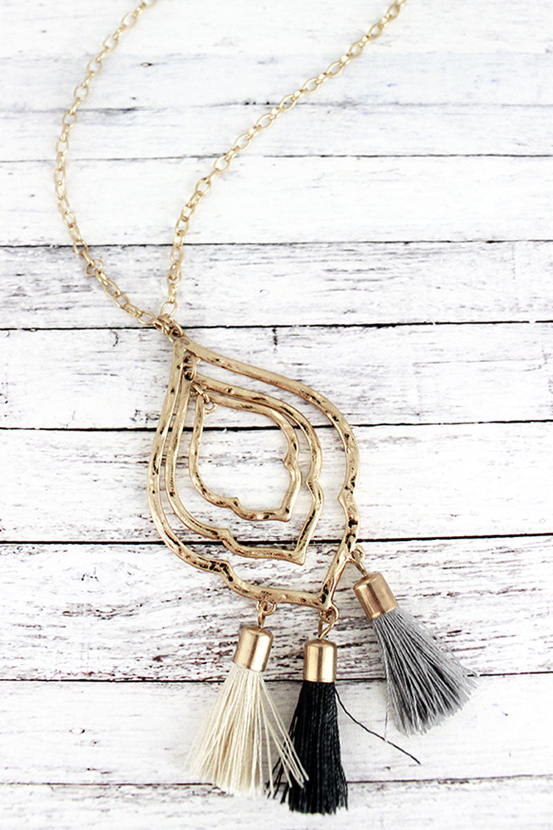 Crave Goldtone Moroccan with Monochrome Tassels Pendant Necklace