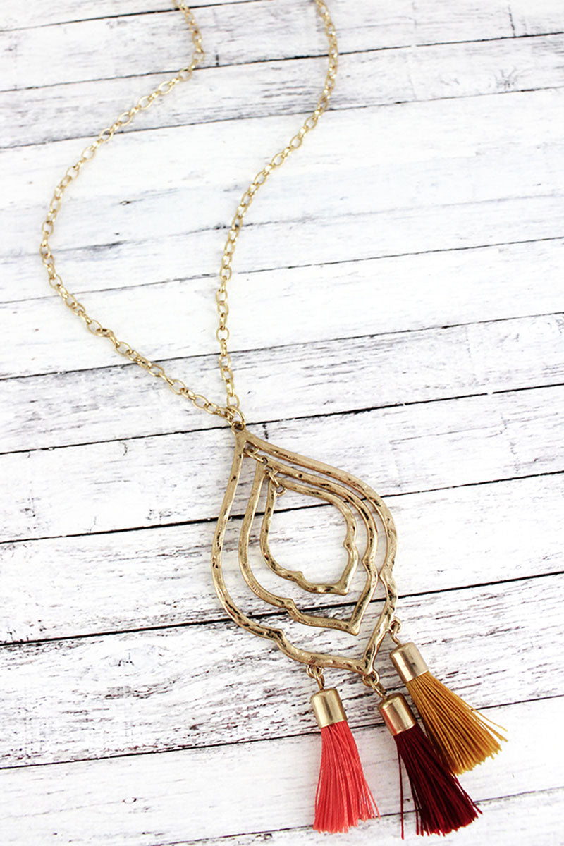 Crave Goldtone Moroccan with Autumn Tassels Pendant Necklace
