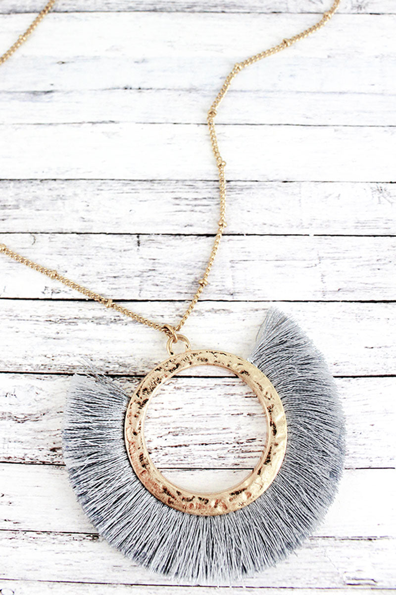 Crave Goldtone and Gray Tassel Fringe Circle Pendant Layered Necklace