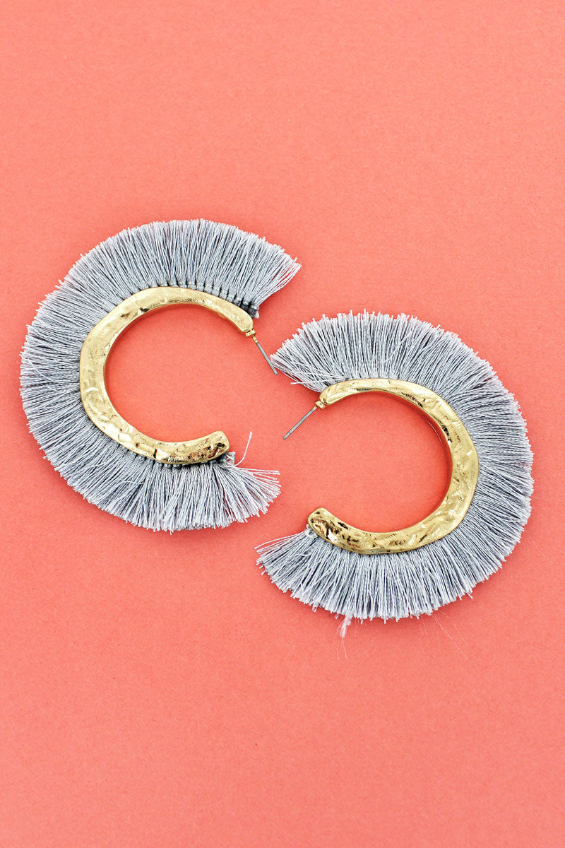 Crave Gray Tassel Fringe Goldtone Hoop Earrings