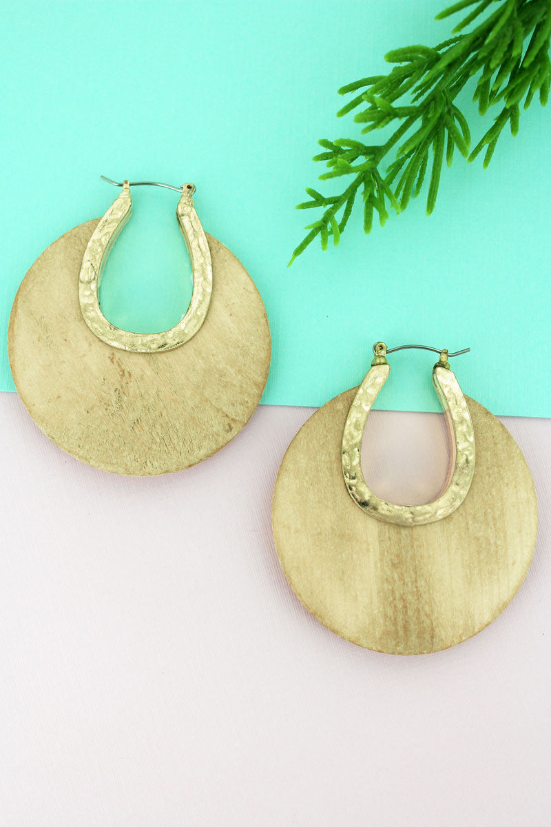 SALE! Crave Ivory Wood and Goldtone Crescent Hoop Earrings