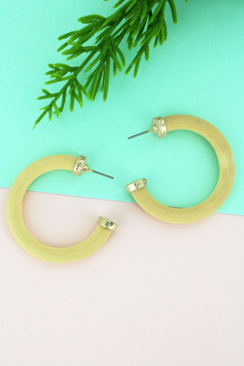 SALE! Crave Ivory Wood Hoop Earrings