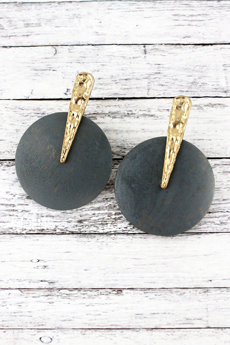 Crave Worn Goldtone and Gray Wood Disk Earrings
