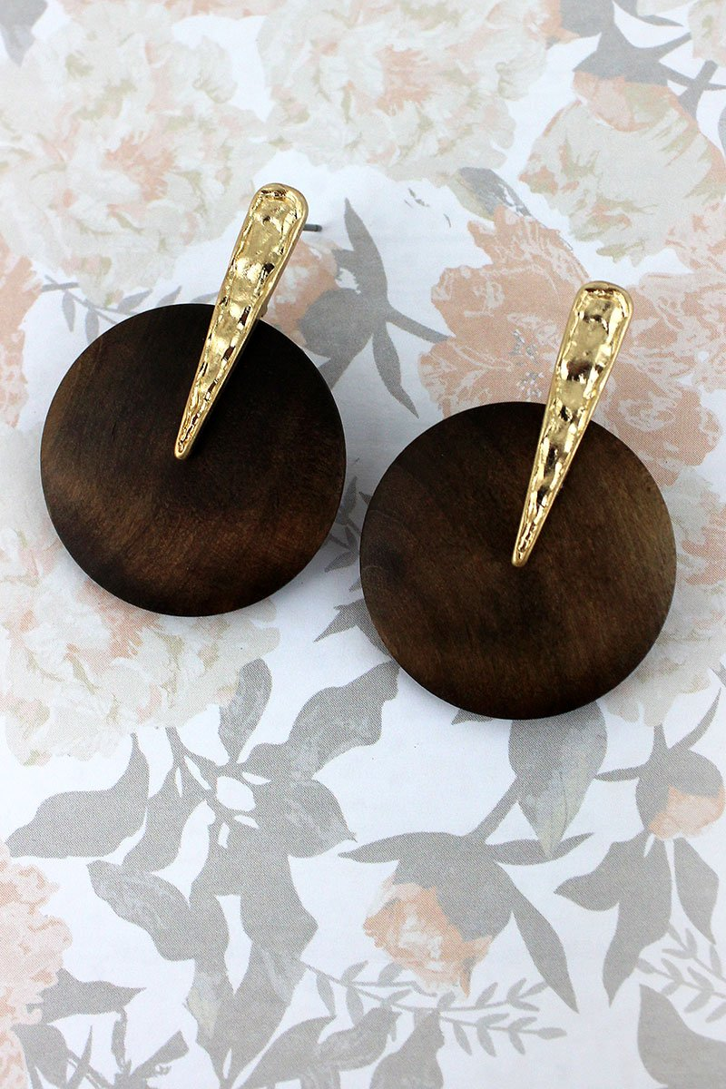 Crave Worn Goldtone and Brown Wood Disk Earrings