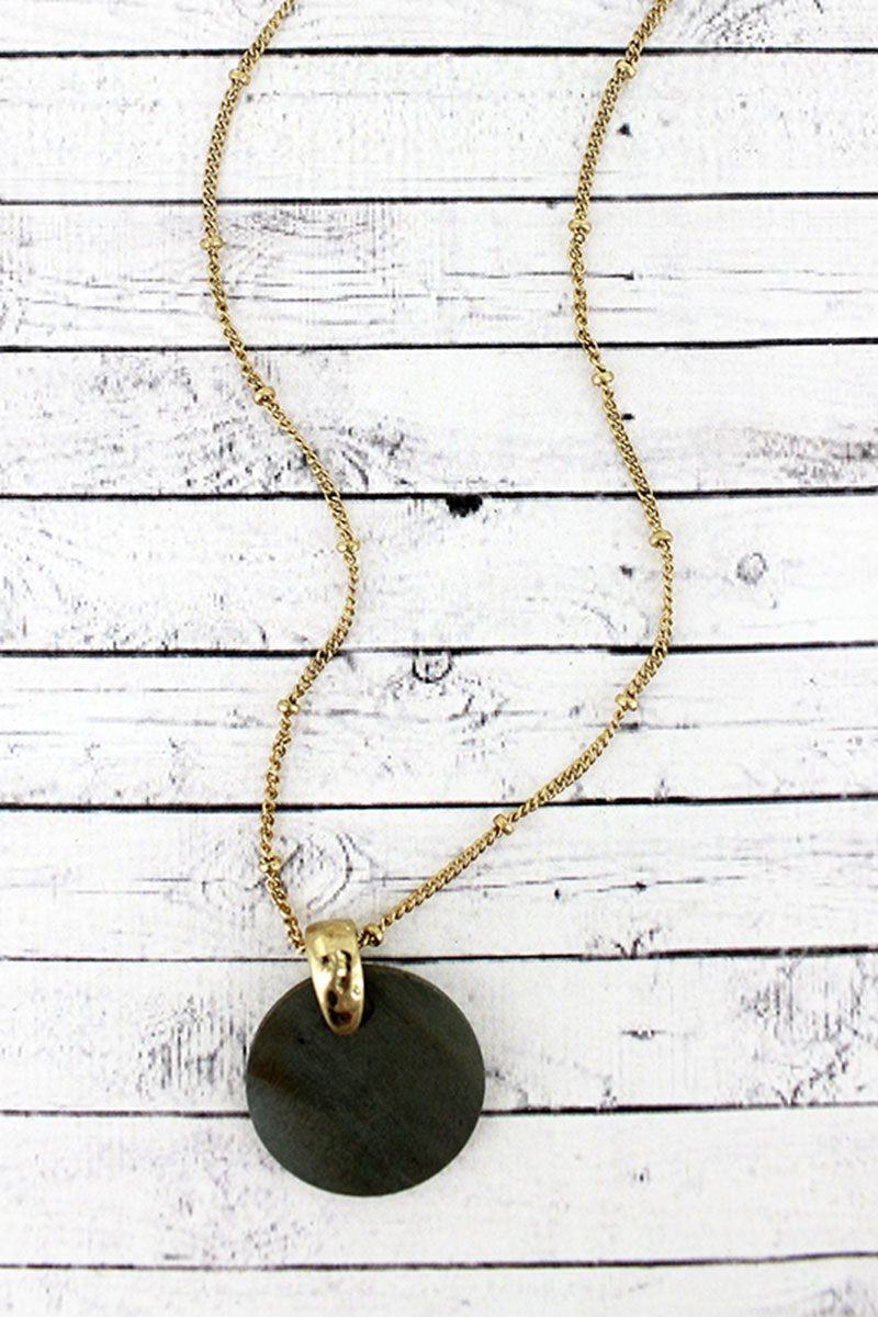 Crave Goldtone and Gray Wood Disk Pendant Necklace