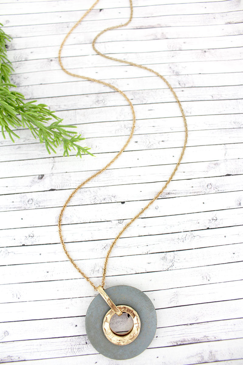 SALE! Crave Gray Wood and Goldtone Circle Pendant Necklace