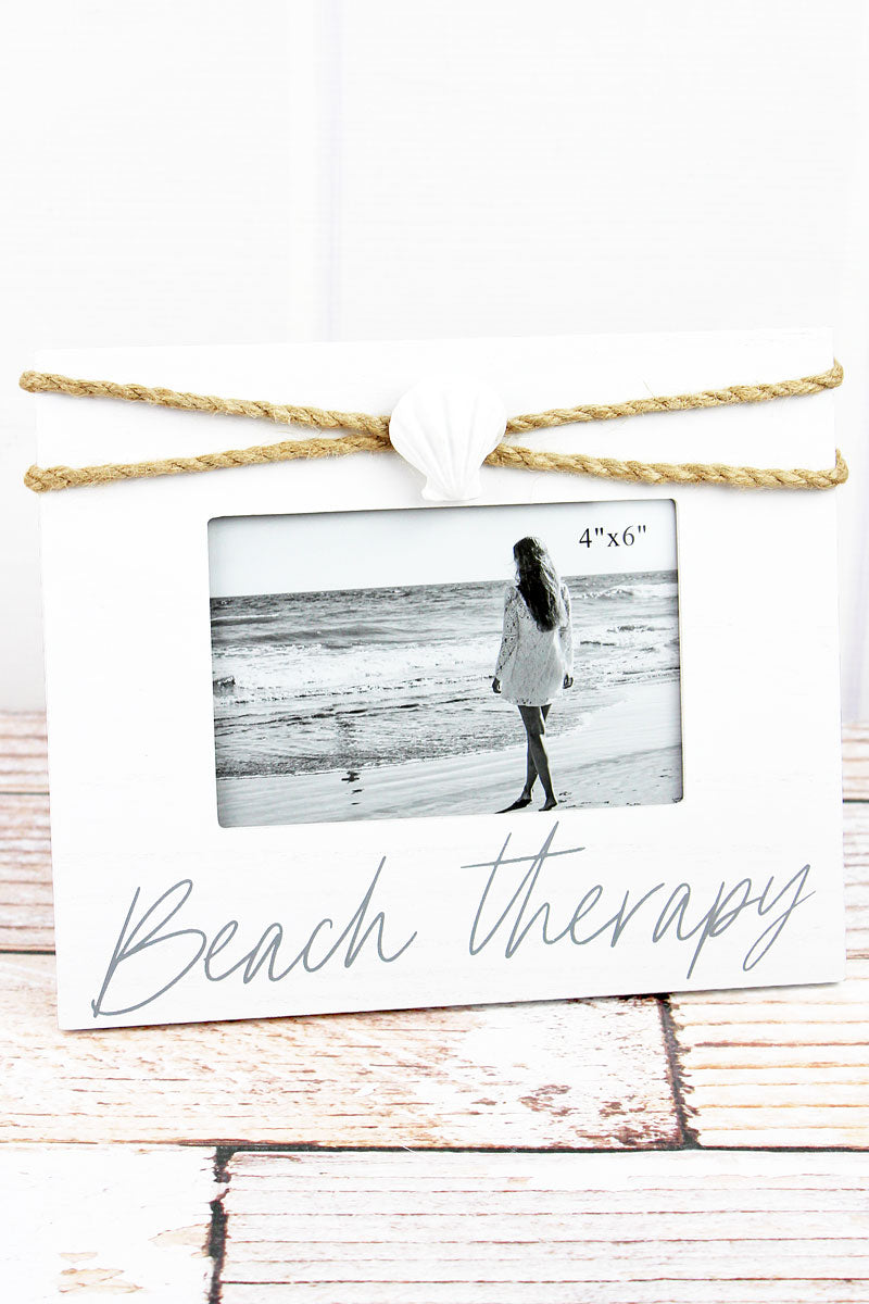 8 x 9.5 'Beach Therapy' Clam Shell Accented Wood 4x6 Photo Frame