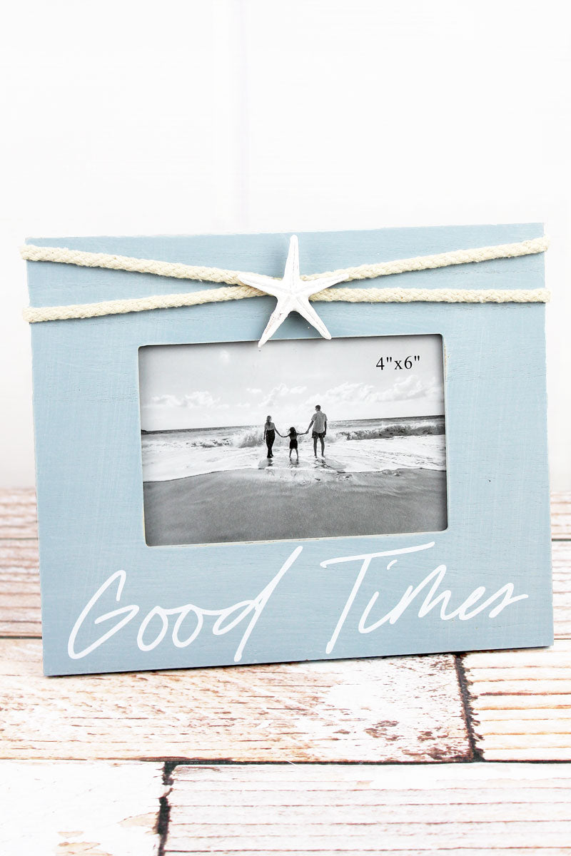 8 x 9.5 'Good Times' Starfish Accented Wood 4x6 Photo Frame